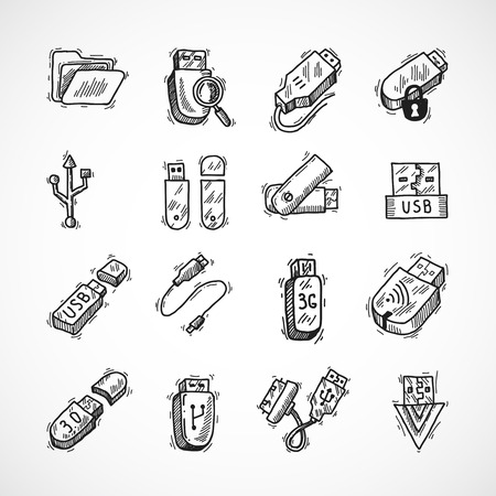 usb cable: Usb drive computer information technology decorative icons sketch set isolated vector illustration