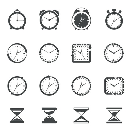 old timer: Alarm clock old sand watch stopwatch timer icons black set isolated vector illustration
