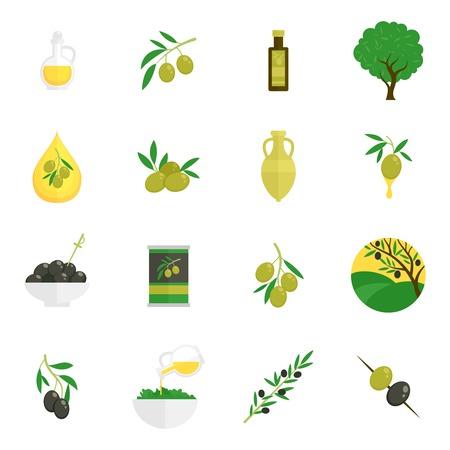 foglie ulivo: Olive icone piane impostate con foglia ramo di un albero olio isolato illustrazione vettoriale