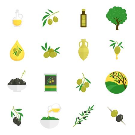Olives flat icons set with tree oil branch leaf isolated vector illustration