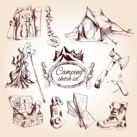 camp fire: Camping sketch set with tent campfire tourist map isolated vector illustration