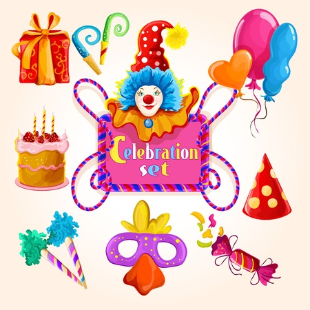 clown birthday: Celebration decorative icons colored set with clown balloon gift box isolated vector illustration