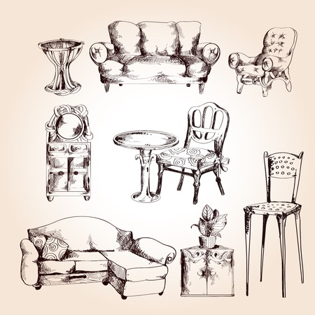 set table: Furniture sketch decorative icons set of chair table sofa isolated vector illustration.