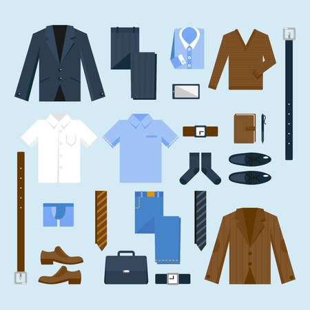 formal clothing: Businessman clothes decorative icons set with shirt tie belt jacket isolated vector illustration