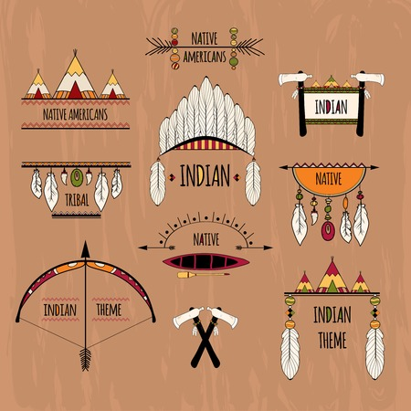 indian headdress: Indian native americans tribal aztec decorative elements colored sketch labels set isolated vector illustration