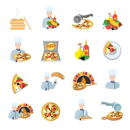 Comida rápida pizzero servicio perfecto ingredientes frescos iconos planos conjunto aislado ilustración vectorial