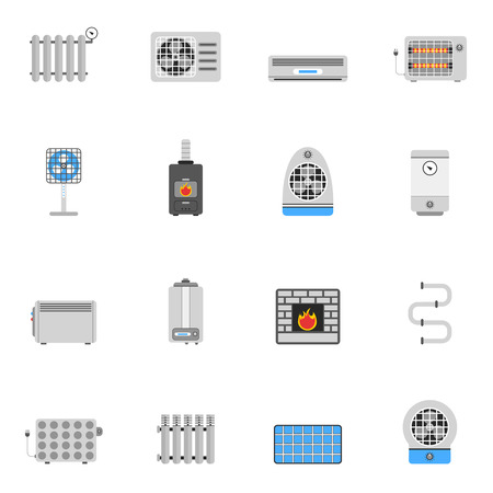 water heater: Heating and cooling air conditioning equipment flat icon set isolated vector illustration