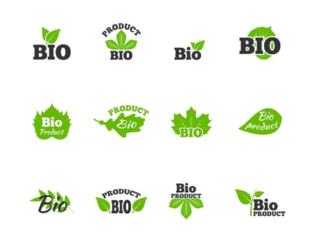 linden tree: Plants and trees green leaves natural ecosphere bio products labels pictograms collection flat abstract isolated vector illustration Illustration