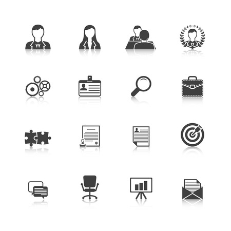 supervisor: Human resources personnel selection strategy and professional people management black icons collection abstract isolated vector illustration
