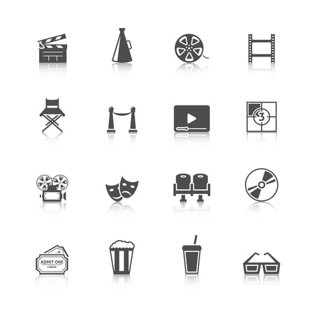 Cinema black retro icons set with movie theater refreshment drinks entry tickets camera black isolated vector illustration