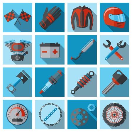 Motorfiets onderdelen flat icon set met geïsoleerde motor van het voertuig sleutel moersleutel vector illustratie