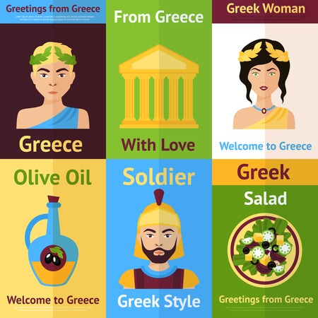 Greece mini poster set isolated with woman olive oil soldier salad vector illustration Illustration