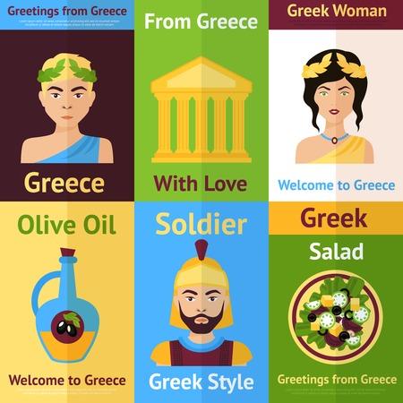 templo romano: Grecia mini-set cartel aislada con la mujer soldado aceite de oliva ilustración vectorial ensalada