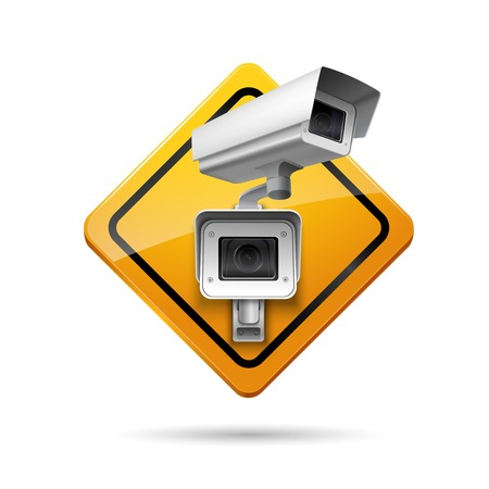 Video surveillance yellow sign with security camera  digital control vector illustration Vector