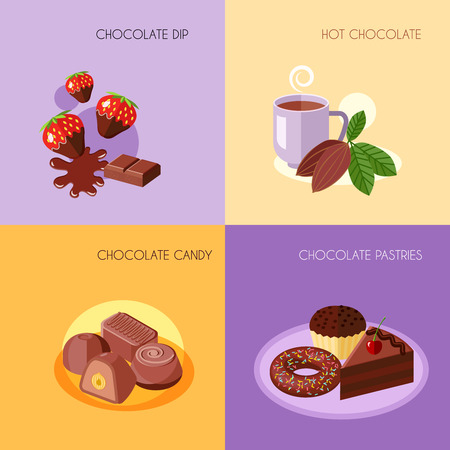 dip: Chocolate flat icons set with dip hot candy pastries isolated vector illustration Illustration