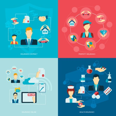 Insurance flat icons set with contract property online health care symbols isolated vector illustration.