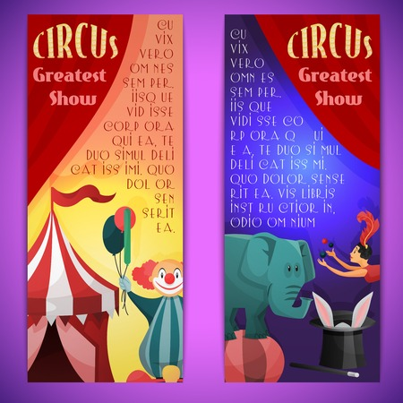 circus elephant: Circus greatest show vertical banner set with clown elephants juggler isolated vector illustration