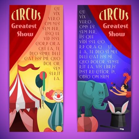 clown cirque: Cirque plus grand spectacle banni�re verticale d�finir avec les �l�phants de clown jongleur isol� illustration vectorielle