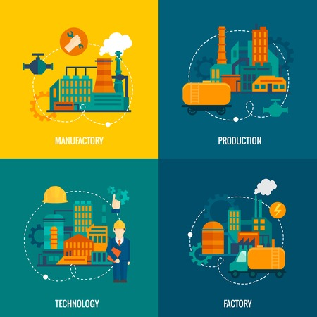 manufactory: Factory flat icons set with manufactory production technology isolated vector illustration