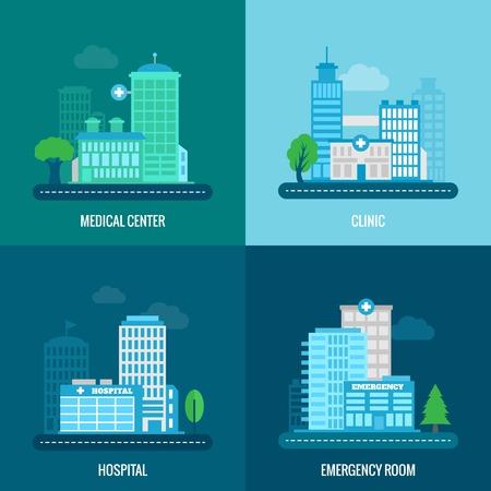 hospitales: Iconos planos de construcci�n Medicina establecen con aislados centro cl�nica sala de emergencias del hospital ilustraci�n vectorial