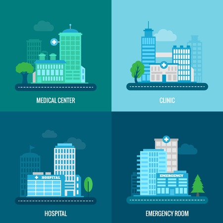 hospitals: Medical building flat icons set with center clinic hospital emergency room isolated vector illustration