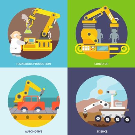 Robotic arm  flat icons set with hazardous production conveyor automotive science isolated vector illustration