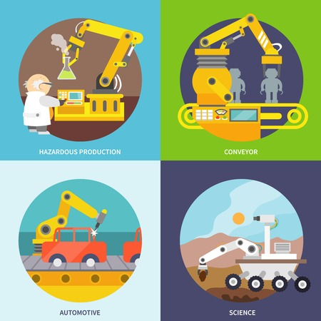 Robotic arm  flat icons set with hazardous production conveyor automotive science isolated vector illustration