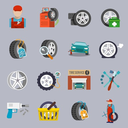 tire shop: Tire service car auto mechanic repair icons flat set isolated vector illustration