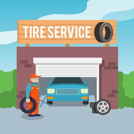 print shop: Tire wheel service shop garage with car and mechanic flat vector illustration Illustration