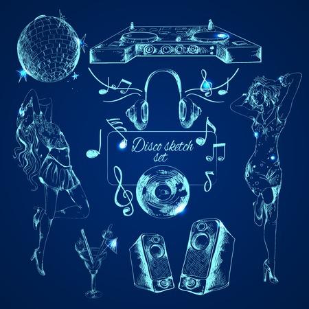 Disco esquisse du parti icônes décoratives avec enceintes danseuses de cocktail isolé illustration vectorielle Banque d'images - 34231715