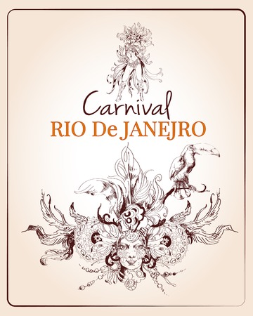 masque: Traditional rio brazilian carnival celebration poster with young beautiful woman and decoration masque sketch vector illustration Illustration