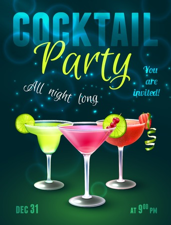blue green background: Cocktail party poster with alcohol beverages in glasses on dark blue background vector illustration. Illustration