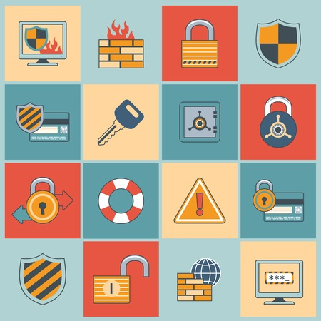 secure site: Security computer network data safe mobile secure flat line icons set isolated vector illustration