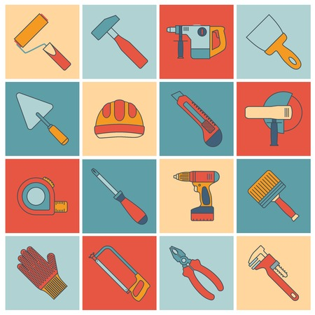 hummer: Repair and construction tools flat line icons set with paint roller hummer drill spanner isolated vector illustration Illustration
