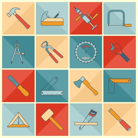 Carpentry wood work flat line icons tools and equipment with cutter level chisel isolated vector illustration. Ilustração