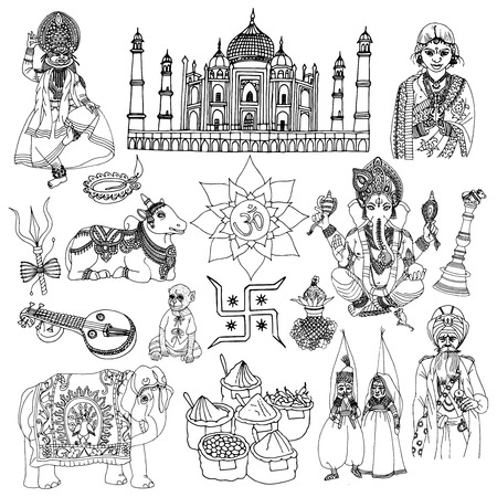 kalasha: India travel traditional culture decorative sketch icons set with elephant lotus buddha isolated vector illustration