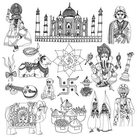 kathakali: India travel traditional culture decorative sketch icons set with elephant lotus buddha isolated vector illustration