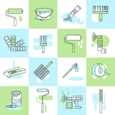 flat brush: Painting icons flat line set with brush roller spray adhesive tape isolated vector illustration Illustration
