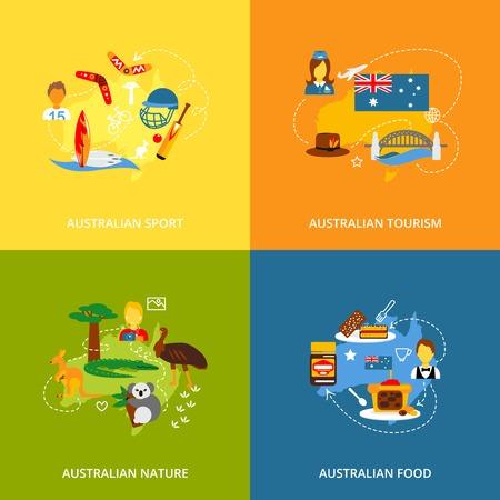 australia: Australia travel icons flat set with australian sport tourism nature food isolated vector illustration Illustration