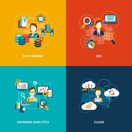 Database analytics icons flat set with data mining seo cloud isolated vector illustration.