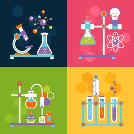 experimento: Química iconos planos decorativos establecen con aislados equipo de prueba de laboratorio y la investigación ilustración vectorial