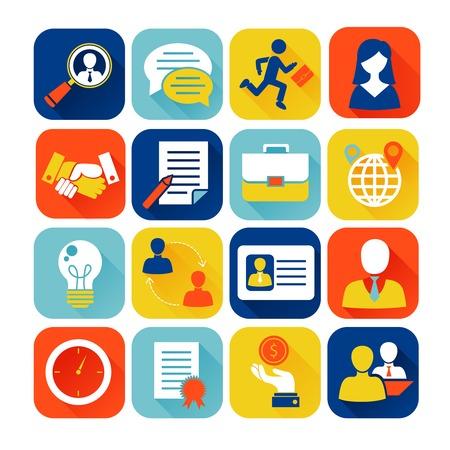 contrato de trabajo: Iconos planos Entrevista de trabajo establecidos con aislados trabajador reclutamiento búsqueda ilustración vectorial