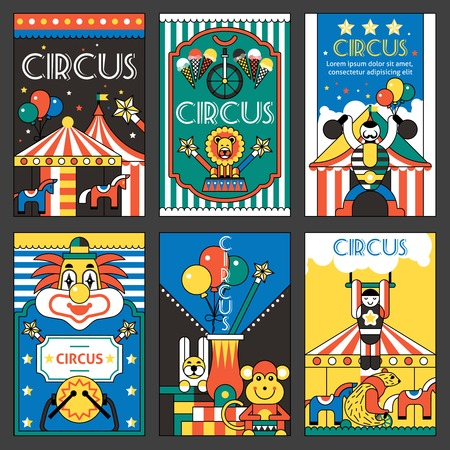 circus clown: Circus entertainment fun park holiday retro posters set isolated vector illustration