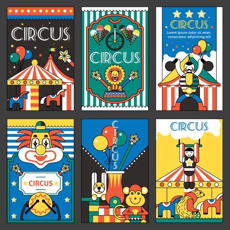 circus animals: Entretenimiento Circo diversi�n del parque de vacaciones retro posters conjunto aislado ilustraci�n vectorial Vectores
