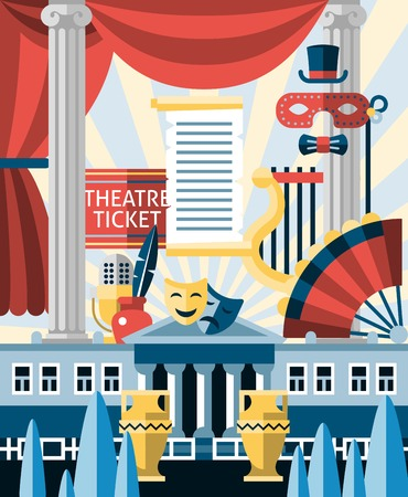 tragedy mask: Theatre acting and theatrical play concept with decorative icons set vector illustration