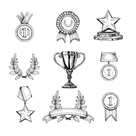 boceto: Premio iconos de dibujo decorativo conjunto de la medalla trofeo Copa de campe�n premio ganador ilustraci�n vectorial aislado Vectores