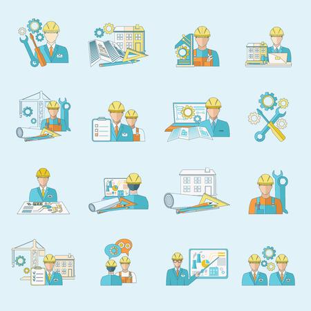 mat�riel chantier: mat�riel de construction Ing�nieur production de processus industriels et de fabrication ic�nes ligne de conduite isol�e illustration vectorielle. Illustration