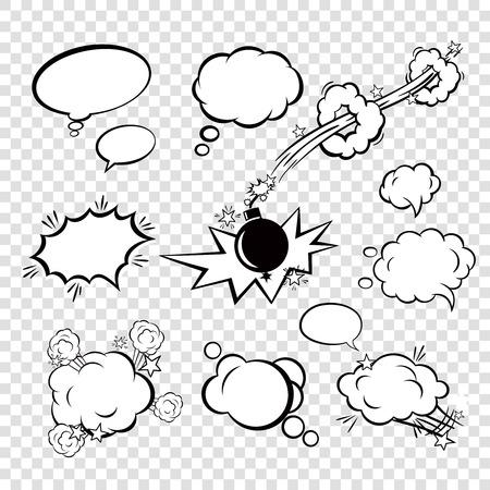 burbuja: Blanco discurso texto negro Burbujas cómicas en el estilo del arte pop con la historieta bomba puesta ilustración vectorial