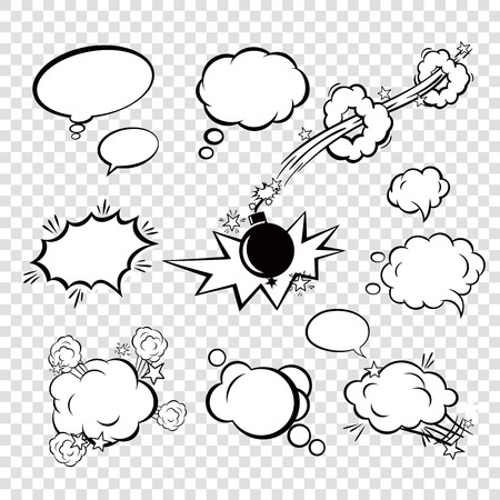 Comic black blank text speech bubbles in pop art style with cartoon bomb set vector illustration