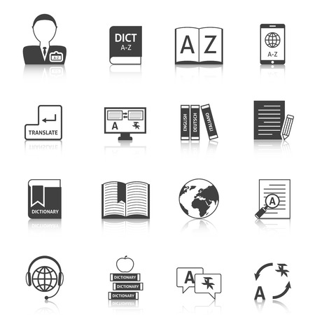 interpreter: Official documents translation for legal equivalence and online english dictionary black icons collection abstract isolated vector illustration